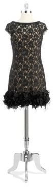 Jessica Simpson Capped Sleeved Lace Overlay Dress with Feather Hemline