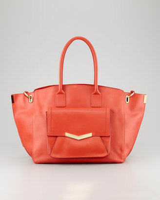 Time's Arrow Jo Leather Tote Bag with Pocket, Paprika/Gold