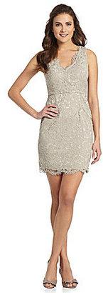 Adrianna Papell V-Neck Lace Dress
