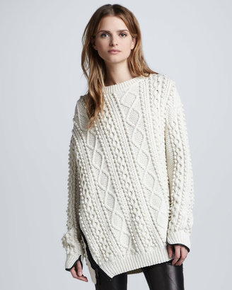 3.1 Phillip Lim Oversized Cable Knit Pullover, Ivory