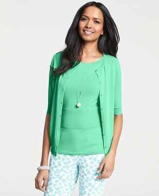 Ann Taylor Crew Neck Short Sleeve Cardigan