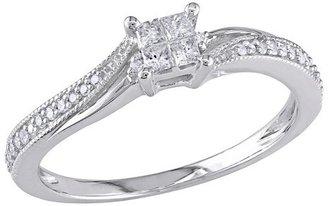 Allura 0.2 CT.T.W. Princess Cut Diamond Ring in 10K White Gold (GH I2:I3) - Tevolio