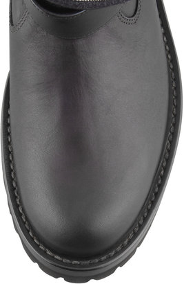Brunello Cucinelli Fold-Over Bead-Detailed Ankle Boot, Black