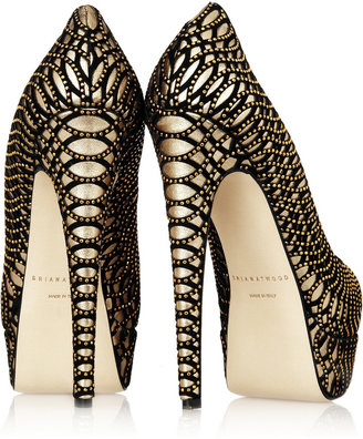 Brian Atwood Hamper leather and velvet platform pumps