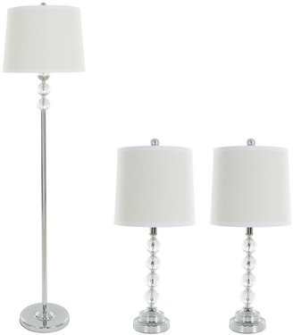 Lavish Home 62 in. Faceted Crystal Balls Lamp Set (3-Piece)