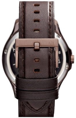 Armani Exchange Round Leather Strap Watch, 46mm