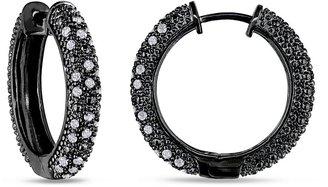 Ice.com 1/2 Carat Gray Diamond Sterling Silver Hoop Earrings w/Black Rhodium