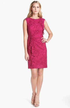 Adrianna Papell Ruffled Lace Sheath Dress
