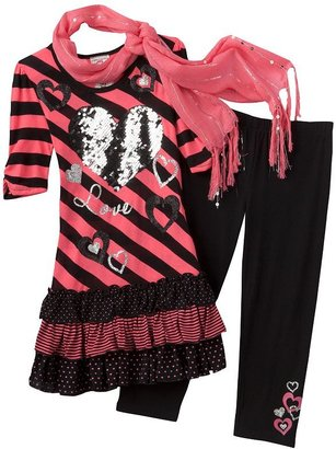 Knitworks love striped neon dress and leggings set - girls plus