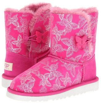 UGG Bailey Button Butterfly (Little Kid/Big Kid) (Raspberry Sorbet) - Footwear