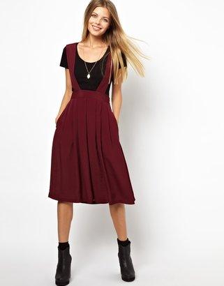 Asos Midi Skirt with Bib Detail - Red