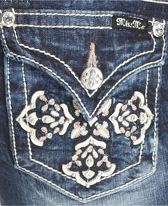Miss Me Jeans, Bootcut Embroidered Bootcut Rhinestone