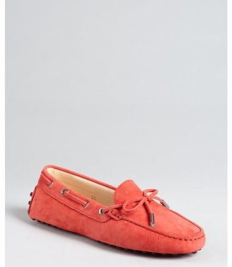 Tod's poppy suede bow detail loafers