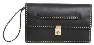 Valentino Rockstud Calfskin Leather Clutch - Black