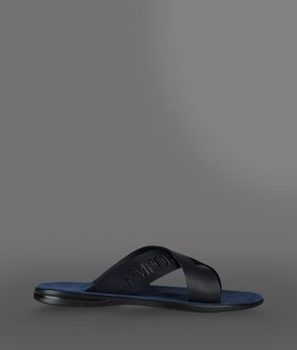 Emporio Armani Crossover Sandal With Logoed Ribbon