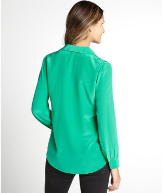 Wyatt Seafoam Green Long Sleeve Silk Blouse