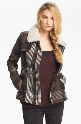 Jack Faux Shearling Collar Plaid Coat (Juniors)
