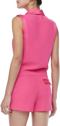 L'Agence Satin-Collar Sleeveless Jumpsuit