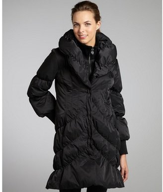 Elie Tahari black ruched quilted down-filled 'Emily' coat