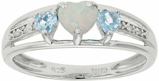 FINE JEWELRY Lab-Created Opal & Genuine Blue Topaz Heart-Shaped Sterling Silver Ring