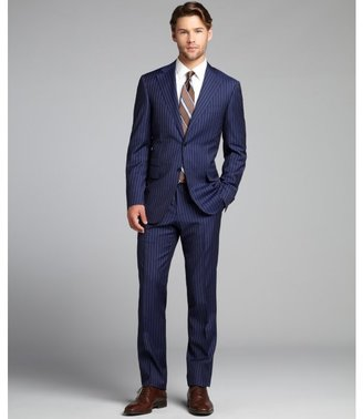 Canali blue striped wool two-button suit with flat front pants