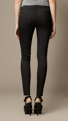 Burberry Skinny Fit Regular-Rise Leather Panel Jeans