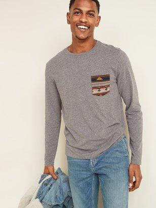 Old Navy Soft-Washed Patterned-Pocket Long-Sleeve Tee for Men
