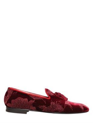 Max Verre 20mm Printed Velvet Loafers