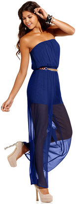 Urban Hearts Juniors Jumpsuit, Strapless Belted Sheer