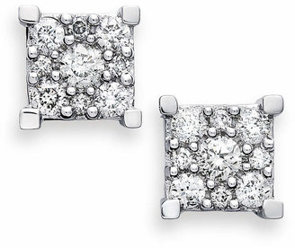 Macy's Diamond Square Cluster Earrings in 14k White Gold (1/2 ct. t.w.)