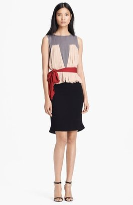 L'Agence Pleated Silk Dress with Sash