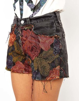 Asos Reclaimed Vintage Levis 501 Shorts with Tapestry Print