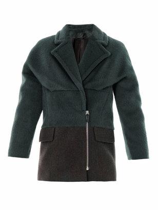 Alexander Wang Bi-colour brushed alpaca coat