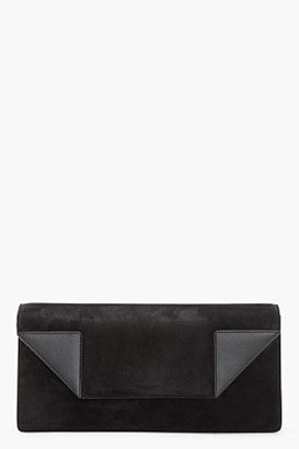 Saint Laurent Black suede and leather Betty Light clutch