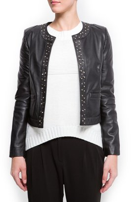 MANGO Studded leather jacket