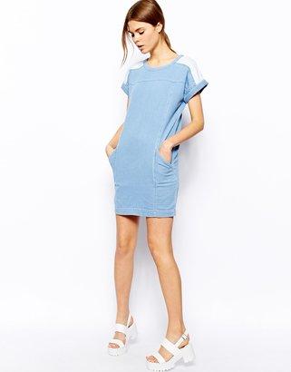 Warehouse Contrast Denim Dress