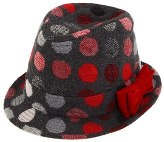 San Diego Hat Company Kids - Polka Dot Fedora w/ Bow (Grey) - Hats