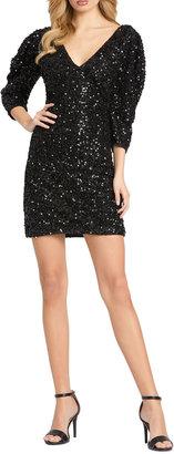 Mac Duggal Sequin Puff-Sleeve Mini Cocktail Dress