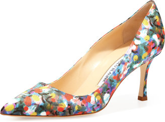 Manolo Blahnik BB Satin 70mm Pump, Floral