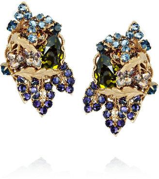 Swarovski Bijoux Heart 24-karat gold-plated crystal clip earrings
