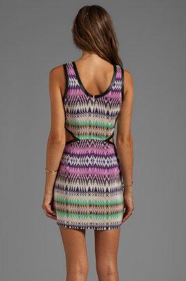 Parker Slash Cutout Leather Trim Dress