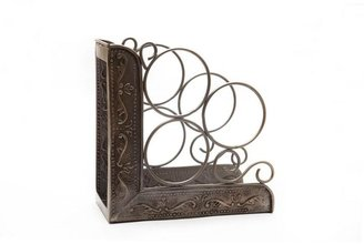 Old Dutch 10.25 in. x 4.75 in. x 10.25 in. Ant. Emb. Victoria 3 Bottle Wine Rack Bookend