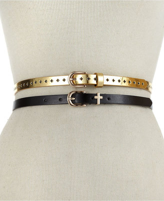 Material Girl Belt, 2 for 1 Black and Gold Perforated Skinny