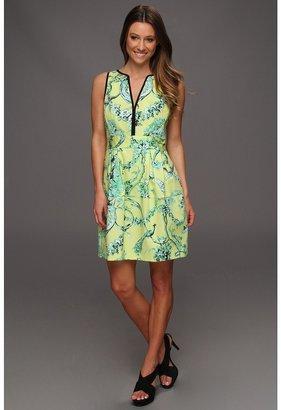 Nanette Lepore Tec-Porcelian Dress (Lime Multi) - Apparel