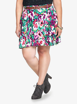 Torrid Emerald & Purple Floral Challis Skirt