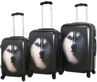 Chariot Husky 3-Peice Hardside Spinner Luggage Set in Black