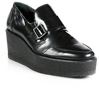 Pierre Hardy Leather Buckle Platform Wedge Loafers
