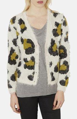 Topshop Textured Leopard Spot Jacquard Cardigan