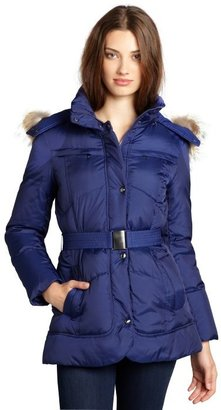 Marc New York marine quilted 'Matrix' down fill coyote trim hooded coat