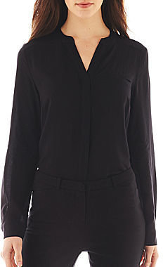 JCPenney Worthington Long-Sleeve Button-Front Blouse